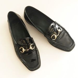 Gucci Black Patent Leather Horsebit Loafers